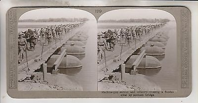 Wwi Stereoview - Infantry Crossiing River By Pontoon Bridge - Realistic Travels