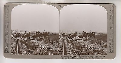 Wwi Stereoview - Australians Move Guns Forward Le Transloy - Realistic Travels