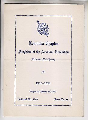 1937 Pamphlet - Loantaka Chapter Daughters Of The American Revolution Madison Nj