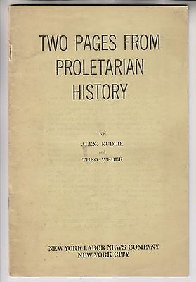 1934 Booklet - Two Pages From Proletarian History - Socialist Labor Party