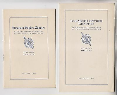 1936 Calendar & 1937 Year Booklet - Elizabeth Synder Chapter D.a.r. - New Jersey