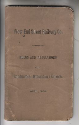1896 Booklet - West End Street Railway Co Rules And Regulation - Boston Ma