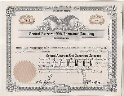 1963 Stock Certificate - Central American Life Insurance Company - Lubbock Texas