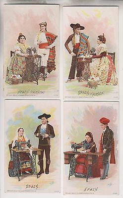 4 1892 Victorian Trade Cards - Spain - The Singer Manufacturing Co.
