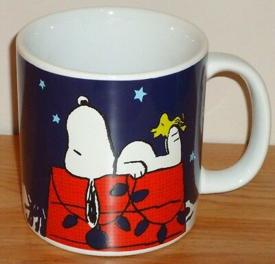 "Peanuts SNOOPY & WOODSTOCK Winter Christmas large ceramic mug 4.25""H"