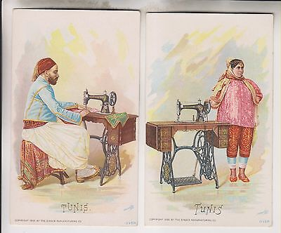2 1892 Victorian Trade Cards - Tunis - The Singer Manufacturing Co.