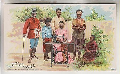 1892 Victorian Trade Card - Zululand - The Singer Manufacturing Co.