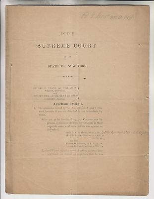 19th CENTURY LEGAL DOCUMENT - WILCOX VS NEW YORK AND HARLEM RAILROAD