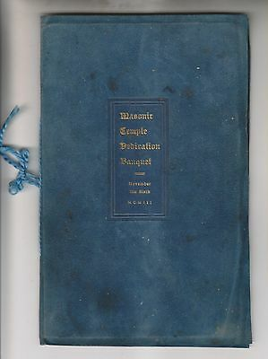 1903 Program - Masonic Temple Dedication Banquet - Rochester New York