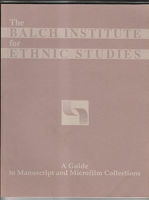 1992 Balch Institute Ethnic Studies Guide To Manuscript & Microfilm Collections