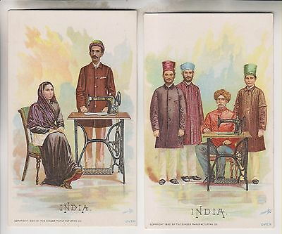 2 1892 Victorian Trade Cards - India - The Singer Manufacturing Co.