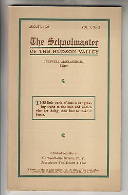 1923 Booklet - The Schoolmaster Of The Hudson Valley - Creswell Maclaughlin