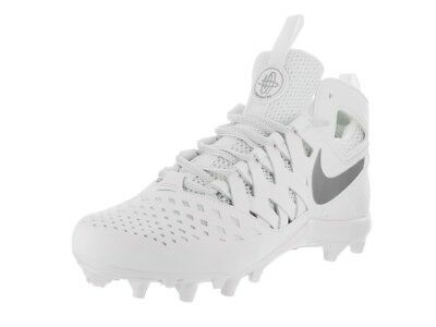 new mens 11.5 nike huarache 5/V mid/lacrosse cleats LAX white/metallic silver