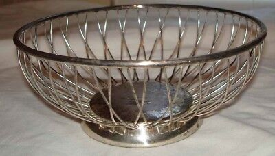 Vintage P M Italy Silver Plate Wire Fruit Basket Bowl