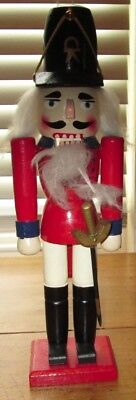 "Vintage 14"" Tall Wood Wooden Hand Painted Nutcracker"