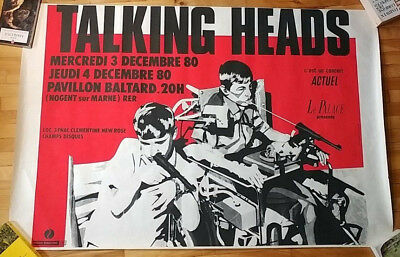 Talking Heads Original French Concert Poster Graphic By Kiki Picasso 1980