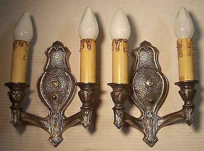 Vtg Art Deco Sconce Cast Hammered Dual Fixture Light Pair Rewired USA #F52