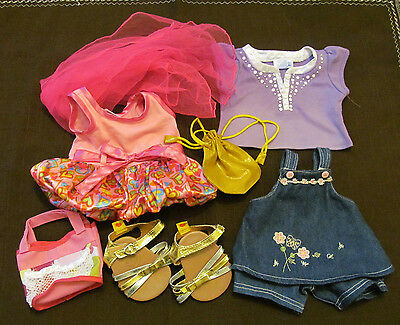 Build a Bear Clothing LOT Girl Bear Doll Dress Jean Jumper Shoes Shirt Purses