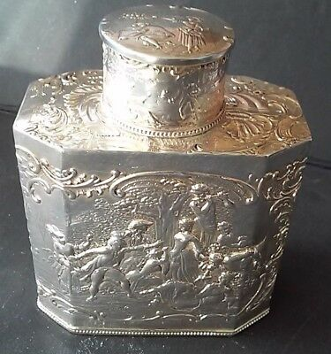 Vintage German solid 800 Silver Tea Caddy Hanau Karl Kurz Repousse Tea jar & lid