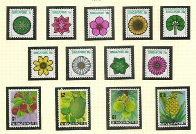 Singapore Scott #189-201 1973 Flowers Complete Set MNH