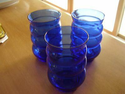 Depression Era Cobalt Blue Wide Ringed Water Tumblers Set of Three FREE SHIPPING