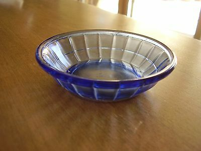 "Akro Agate Blue Panel Bowl 3 3/8"" diameter by 3/4"" high FREE SHIPPING."