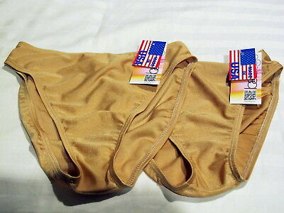 NWT Baltogs 2 pair  BT890 High Leg Dance  Briefs  Gold Suntan size Adult  Small