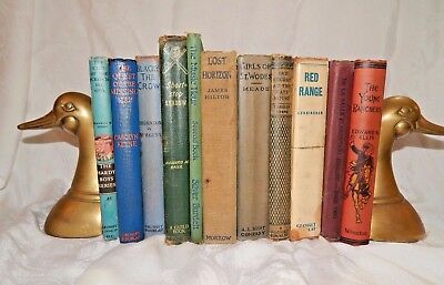 Lot of 10 Old Books Vintage Antique Mixed Children Books Instant Library Decor!