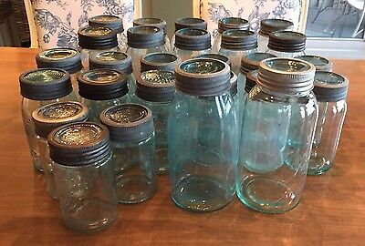 ANTIQUE AQUA BLUE TINT LOT of 27 CROWN JARS W/ ZINC LIDS AND GLASS INSERTS