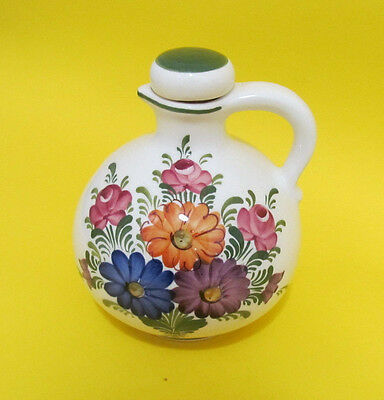 Wechsler Decanter Handbemalt Flask Floral with Stopper 6 inch tall bottle
