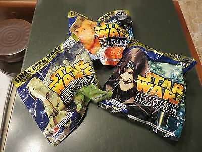 Lot Pepsi Cola Japan Star Wars Bottle Caps Sealed Packages Revenge of the Stith