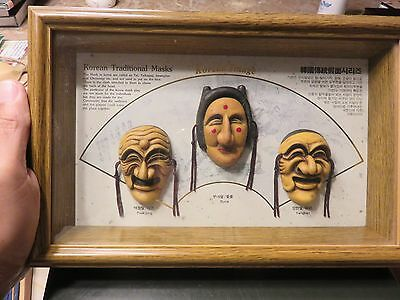 Korean Traditional Masks Framed Three Dimension - Paek jong, Bune, Yangban Korea