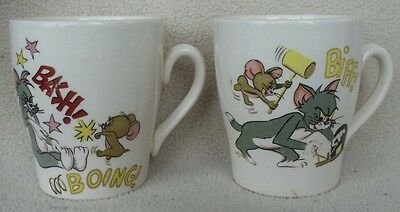 "Set of 2 Tom & Jerry Coffee Mugs Cups Made in England Cartoon Comic 3"" 1970 Vtg."
