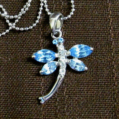 Blue Silver tone dragonfly pendant necklace/ clear crystal rhinestone-ball chain