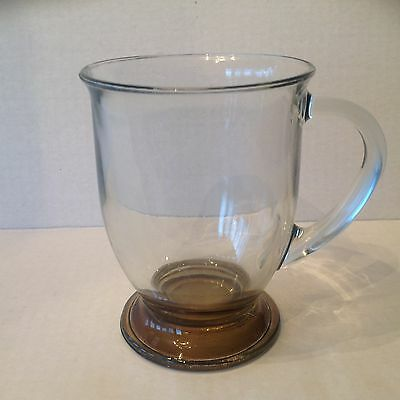 3 Vtg Large Anchor Hocking light Brown/Brown Footed Coffee Mugs