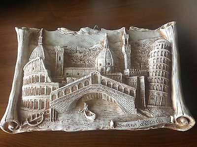 Italian Souvenir of Italy Hanging Wall Plaque/ Plate with Famous Landmarks in 3D
