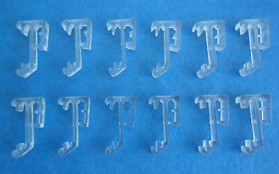 """TWO PAIR 1/"""" Double Slat CLEAR VALANCE RETAINER CLIPS for Wood or Mini BLINDS"""