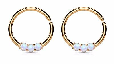 c9d67c87f 2pcs Bendable Septum/Cartilage 3 Prong Set Hoop Rings 16G Color: Rose Gold