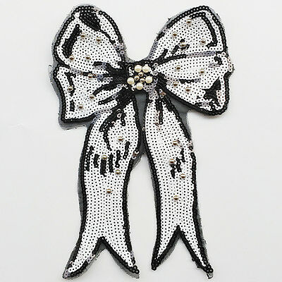1pc Large White Sequins Bow Sew-on Patch Dress Embroidery Appliques Craft