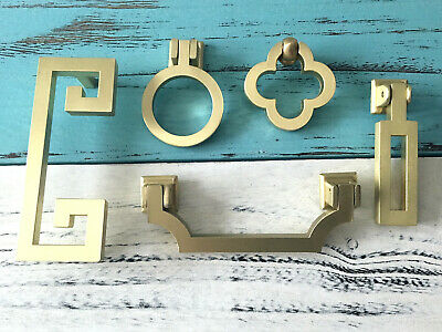 """3.75 5"""" Drawer Knob Drop Bail Handle Cabinet Door Pull Ring Brushed Brass 96 128"""