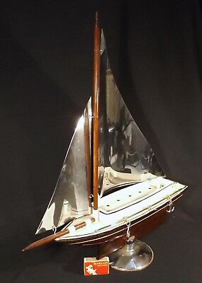 C1940's/50's Art Deco Chrome Wood & Metal Large Yacht On Stand Made In Australia