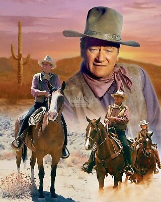 Beautiful John Wayne Montage Showcasing Great Roles - 8X10 Photo (Fb-449)