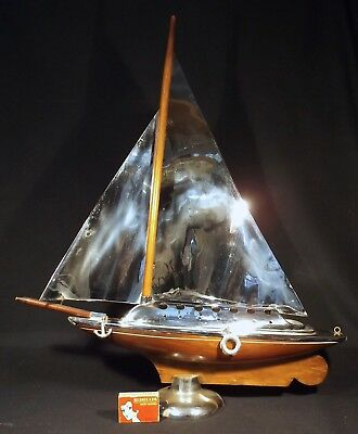 1940's/50's Superb Art Deco Chrome & Wood Large Yacht On Stand Made In Australia