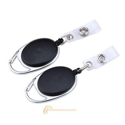 2X Retractable Pull Key Ring Chain Reel ID Badge Lanyard Name Tag Card Holder