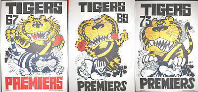 1967 1969 1973 Limited Edition Richmond Premiers Weg posters Tigers Poster