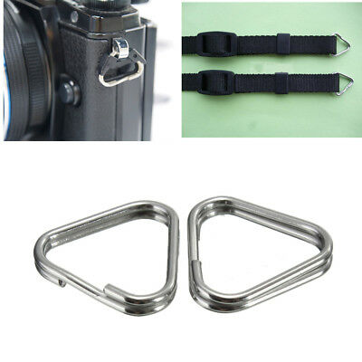 4x Camera Strap Triangle Rings Replacement Metal Chrome Finish Split Ring
