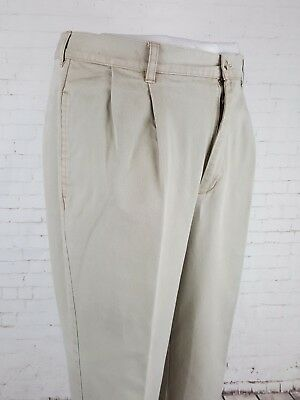 Vtg Mens Light Khaki LL Bean Pleated Preppy Cotton Twill Chino Trousers W36 EJ20