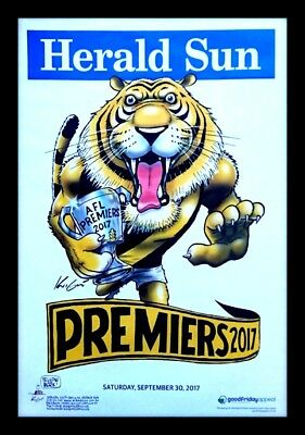 2017 Richmond Tigers Premiers Official Mark Knight Poster Framed