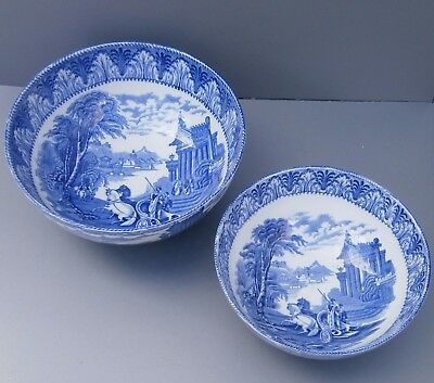 Antique 1930s Blue & White Cauldon Chariot Round Bowls in Two Sizes