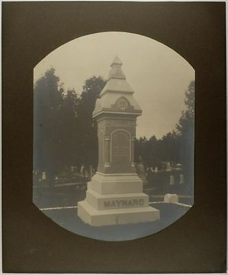 Large Gravestone Monument Mounted Silver Print @ Manchester New Hampshire
